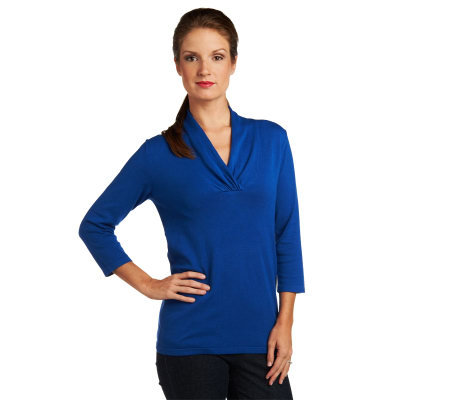 Susan Graver Sweater Knit Crossover Neck Top with 3/4 Sleeves