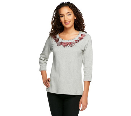 Quacker Factory Pave Heart 3/4 Sleeve T-shirt