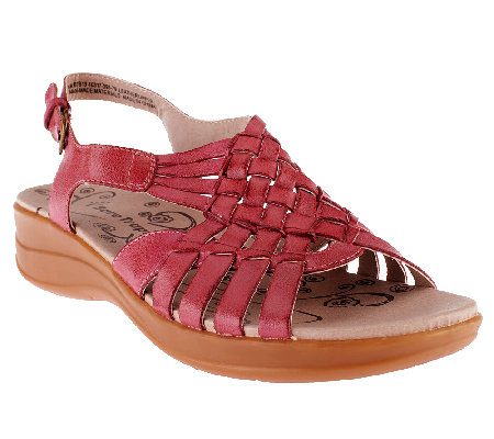 BareTraps Leather Woven Sandals w/ Adj. Back Strap - Jabber