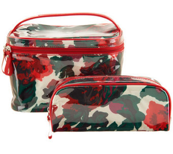 Isaac Mizrahi Live! Set of Two Floral Print Cosmetic Bags - A239743