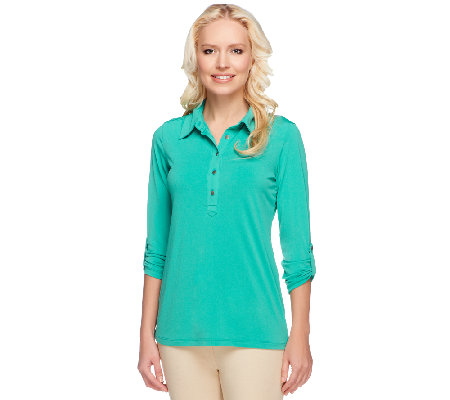 Susan Graver Liquid Knit Henley Top with 3/4 Roll Tab Sleeves