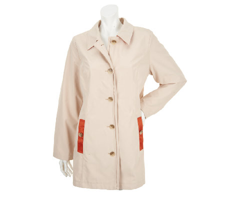 Dennis Basso Button Front Trenchcoat w/ Contrast Trim & Front Pockets