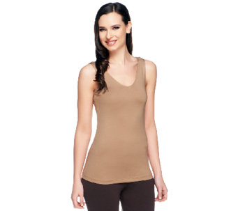 Susan Graver Essentials Nylon Spandex V-Neck Smoothing Tank - A253043