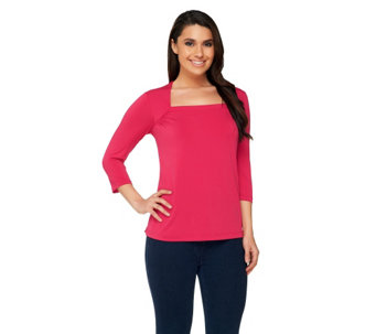 Bob Mackie's Square Neck Jersey Knit 3/4 Sleeve Top - A254143