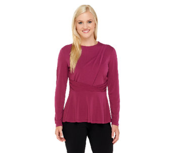 George Simonton Crystal Knit Long Sleeve Peplum Top - A256943