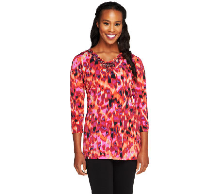 Susan Graver Printed Liquid Knit Embellished Top