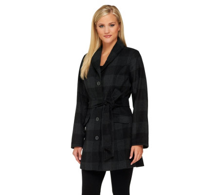 Isaac Mizrahi Live! Window Pane Shawl Collar Coat
