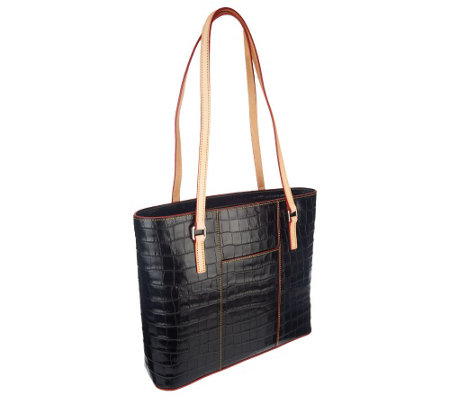 """As Is"" Dooney & Bourke Croco Embossed Leather Shopper"