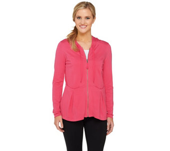 LOGO Lounge by Lori Goldstein French Terry Zip Front Peplum Jacket - A262643