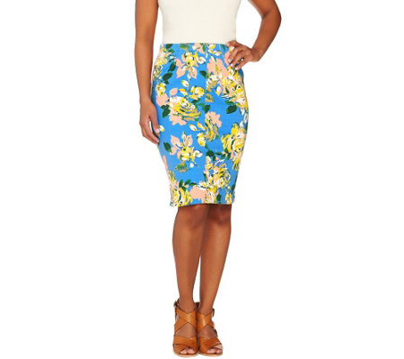 Isaac Mizrahi Live! Floral Printed Knit Denim Skirt