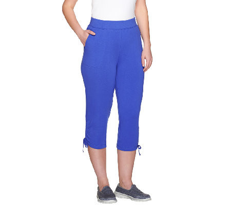 Denim & Co. Active French Terry Capris w/ Side Drawstrings
