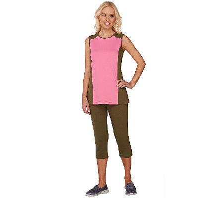 Denim & Co. Active Color-Block Knit Tank & Capri Set