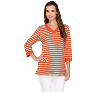 Denim & Co. Active Striped French Terry V Neck Tunic with Pockets - A266843