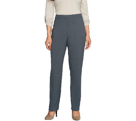 """As Is"" Susan Graver Chelsea Stretch Zip Front Pants - Regular"