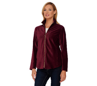 Susan Graver Weekend Corduroy Zip Front Knit Jacket - A269243
