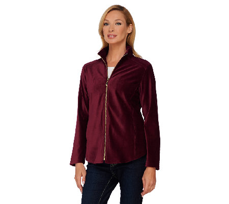 Susan Graver Weekend Corduroy Zip Front Knit Jacket
