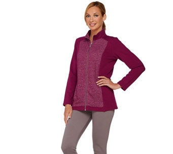 Denim & Co. Active French Terry Jacket with Marled Front Panels - A269343
