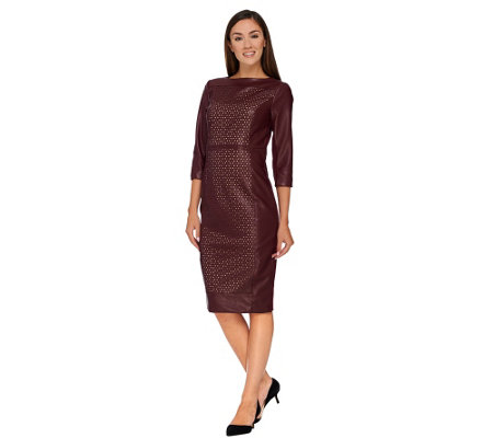 G.I.L.I. Petite Perforated Faux Leather Dress w/ Ponte Sides