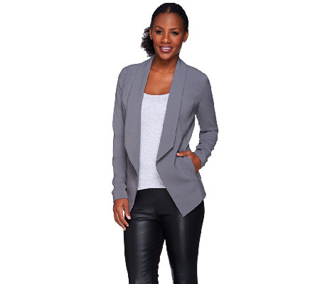 H by Halston Woven Flyaway Blazer with Ribbed Arm Panel