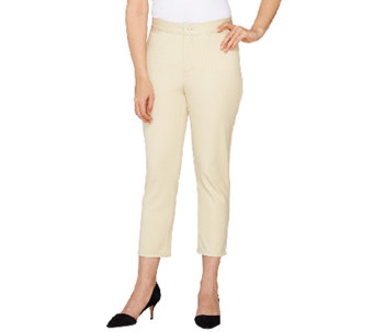 """As Is"" Denim & Co. Solid Twin Stretch Crop Pant - A270443"
