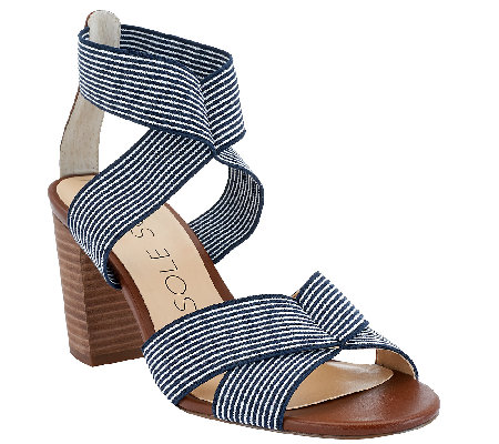 """As Is"" Sole Society Stretch Block Heel Sandals - Joesy"