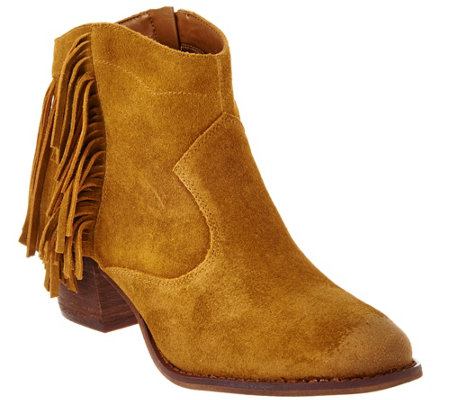 Marc Fisher Suede Fringe Ankle Boots - Sade