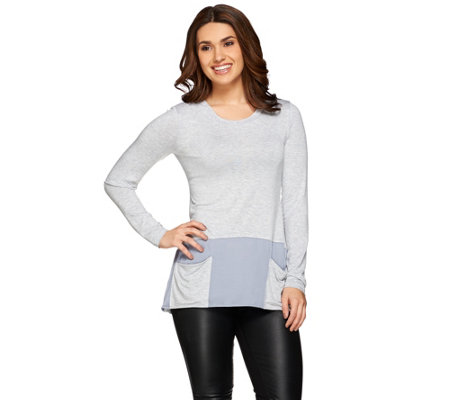 LOGO by Lori Goldstein Heather Color-Blocked Knit Top
