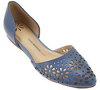 Isaac Mizrahi Live! Perforated Leather D'Orsay Flats - A273043