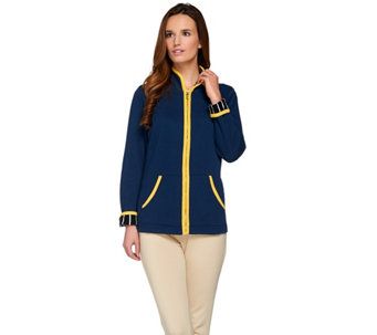 Bob Mackie's Zip Front Jacket with Contrast Trim Detail - A273543
