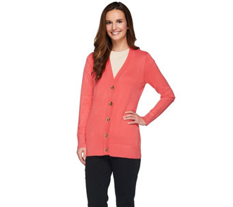 Dennis Basso Rayon Nylon Long Sleeve Cardigan with Logo Buttons - A273743