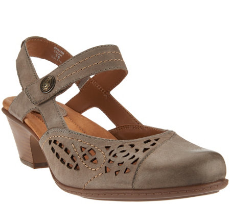 Earth Leather Perforated Sandals with Backstrap - Bantam