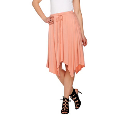H by Halston Knit Skirt with Handkerchief Hem