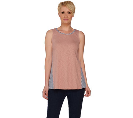 LOGO by Lori Goldstein Knit Tank with Woven Striped Side Godets