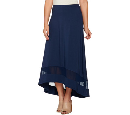 H by Halston Hi-Low Knit Skirt with Chiffon Inset