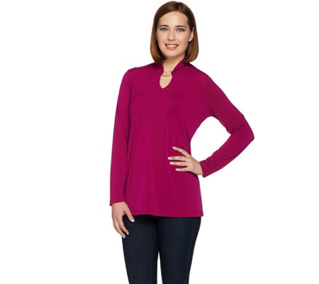 Susan Graver Liquid Knit Long Sleeve Tunic with Keyhole Trim