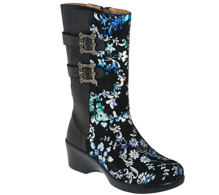 """As Is"" Alegria Leather Mid-calf Boots w/ Side Buckles - Erica"