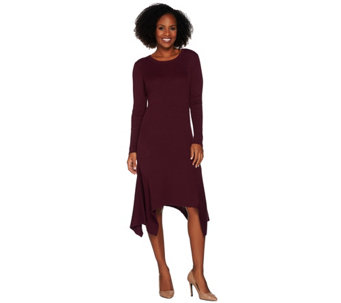 H by Halston Ribbed Sweater Dress with Handkerchief Hem - A281243