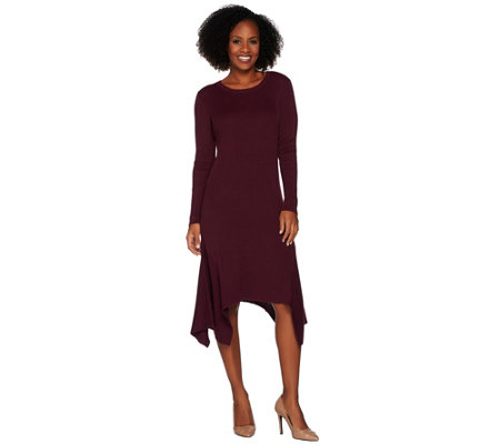 H by Halston Ribbed Sweater Dress with Handkerchief Hem