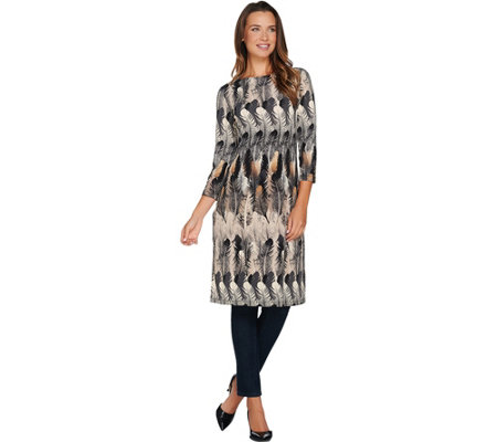 Attitudes by Renee Regular Feather Printed Duster with Side Slits