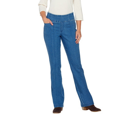 "Denim & Co. ""How Smooth"" Petite Pull-on L Pocket BootcutTrousers"