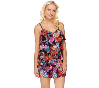 """As Is"" Fit 4 U V-Tiered Romper Swimsuit - A283543"