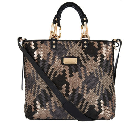 Plinio Visona Intreccio Italian Leather Woven Shopper