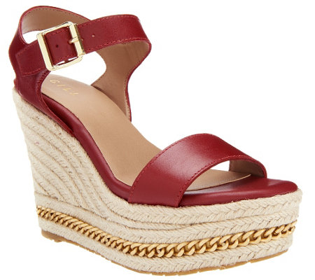 """As Is"" G.I.L.I. Leather Espadrille Wedge Sandals"