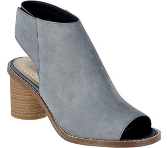 """As Is"" Clarks Somerset Suede Peep-toe Stack Heel Booties Glacier Charm - A284543"