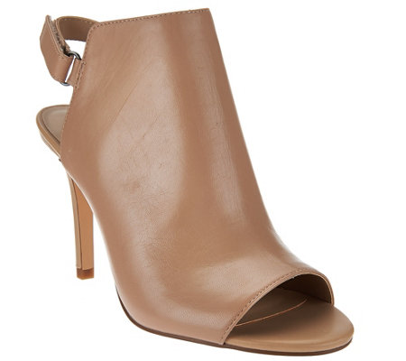 """As Is"" H by Halston Peep Toe Slingback Leather Bootie - Ivy"