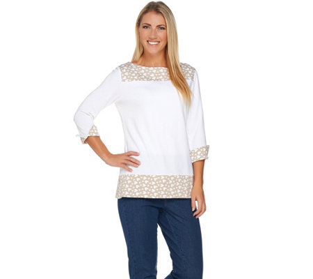 Susan Graver Weekend Stretch Cotton Modal 3/4 Sleeve Top