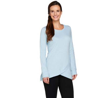 """As Is"" LOGO Lounge by Lori Goldstein French Terry Top w/Hem"