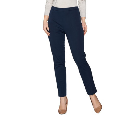 Susan Graver Coastal Stretch Pull-On Slim Leg Pants with Slits