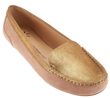 """As Is"" Isaac Mizrahi Live! Leather and Metallic Moccasins"