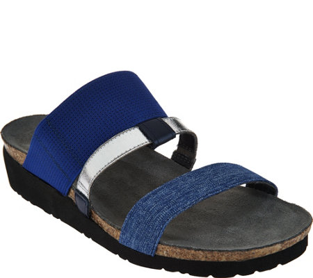 Naot Leather Triple Strap Slide Sandals - Brenda
